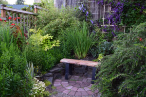 yew bench seating area